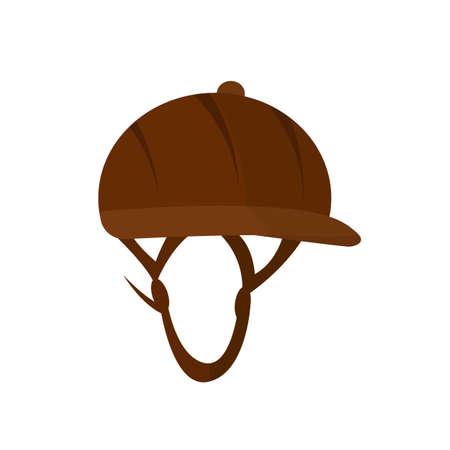 Hat jockey for equestrian sport. Vector icon.