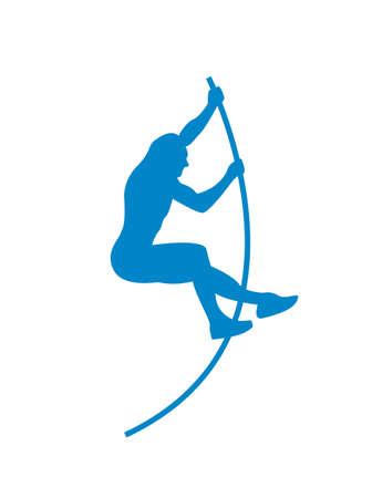 Flat vector vaulter athlete icon.