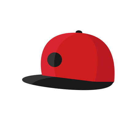 Baseball red hat vector icon.