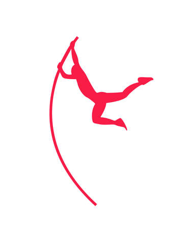 Flat vector vaulter man athlete red icon.