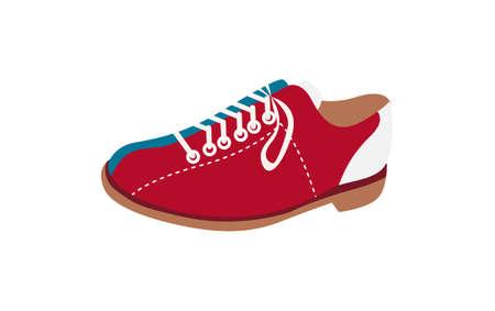 Bowling shoes icon on the white background. Vector illustration. Ilustração