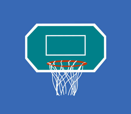 Basketball hoop with backboard symbol vector illustration on the blue background.