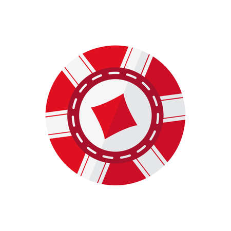 Red casino token with diamonds symbol vector illustration on the white background.