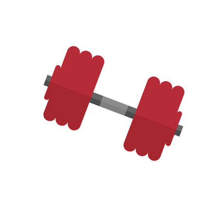 Red dumbbell vector illustration on the white background.