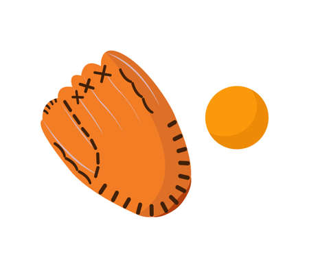 Baseball glove with ball vector illustration on the white background.