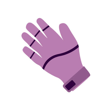 Violet glove vector illustration on the white background.