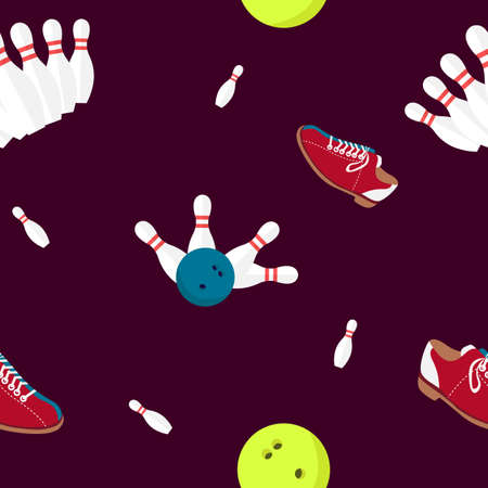 Seamless of bowling alley background. Vector skittles, ball and shoes elements.
