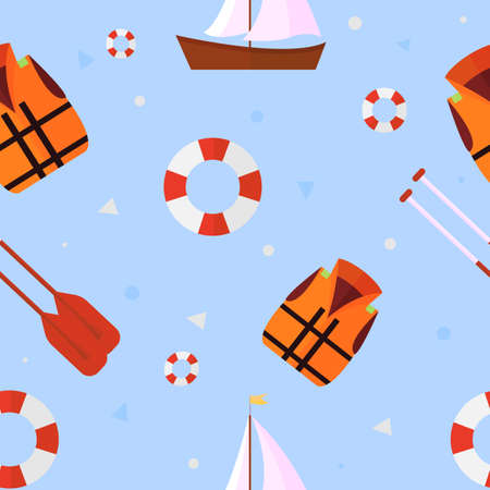 Seamless sailing yacht with life vest, lifebuoy, paddles and sail. Vector Illustration. Çizim
