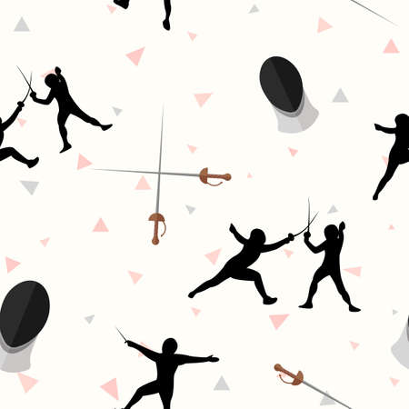 Seamless vector fencing people with rapiers and masks. Tile background.