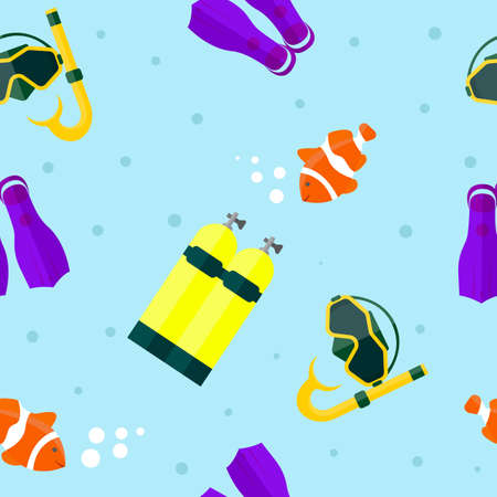 Seamless vector diving mask, tube, balloon and clown fish. Tile background.