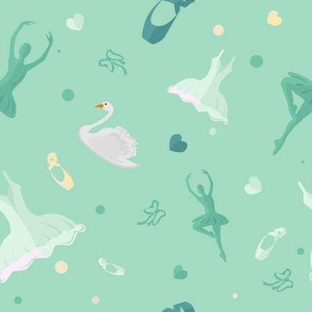Seamless vector ballet icon on green background. Tile illustration. Illustration
