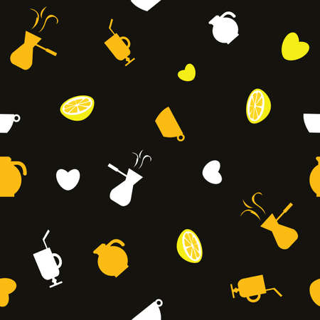 Coffee beans lemons cezves and hearts on the black background. Pattern background. Vector Illustration.