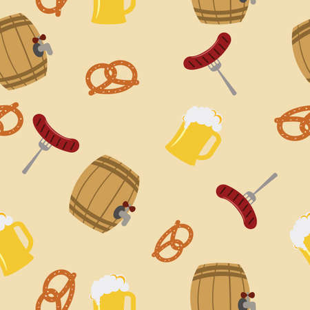 Pretzels barrels sausages and beer on the yellow background. Pattern objects. Vector illustration. Stock Illustratie