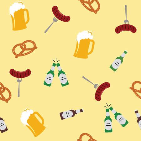 Salsicce e birra di salatini sui precedenti gialli. Oggetti di piastrelle. Illustrazione vettoriale Archivio Fotografico - 96336501