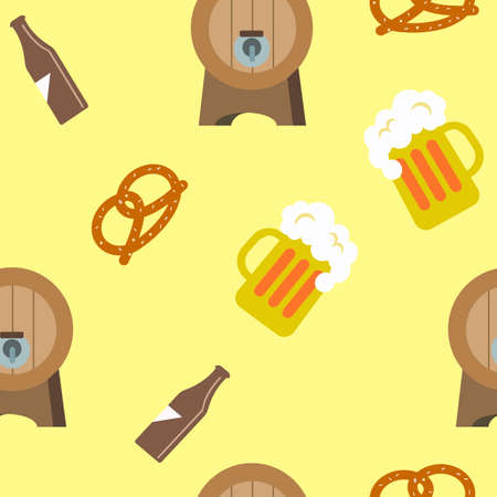 Pretzels barrels and beer on the yellow background. Pattern objects. Vector illustration.