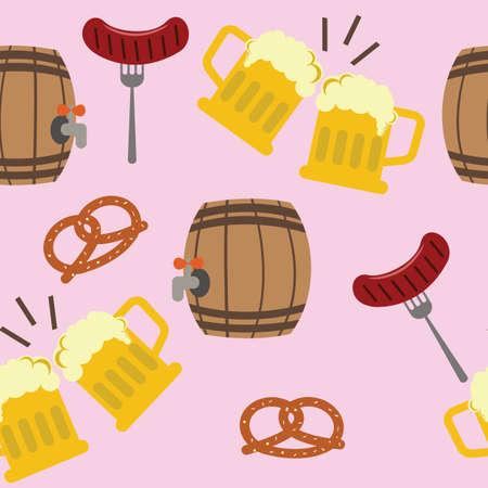 Pretzels barrels sausages and beer on the pink background. Tile objects. Vector illustration.