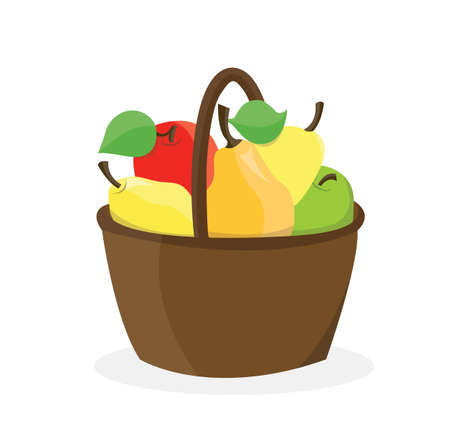 Basket with fresh apples and pears isolated on the white background. Vector Illustration. Illustration