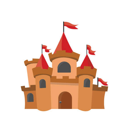 Big kings castle isolated on the white background. Vector Illustration. Stock Illustratie