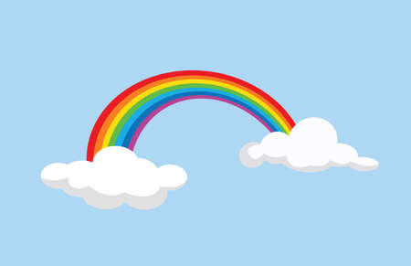 Cartoon rainbow between funny clouds. Vector Illustration.
