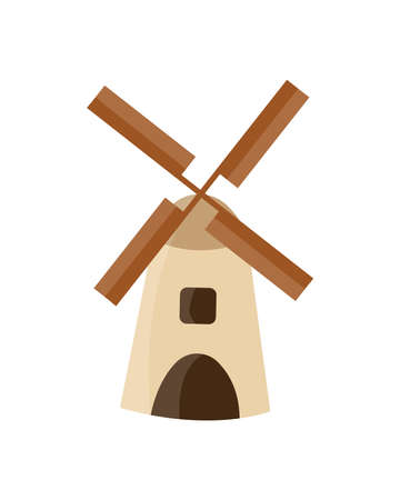 Windmill isolated on the white background. Vector Illustration.