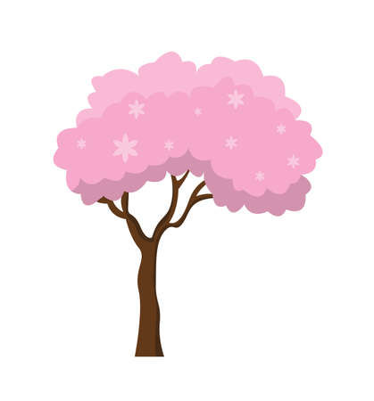 Tree with fantastic pink crown isolated on the white background. Vector Illustration. Illustration