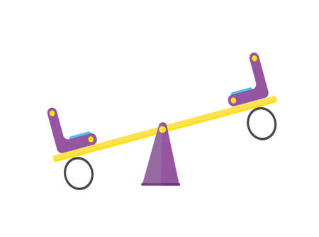 Flat kid yellow seesaw with violet chairs.