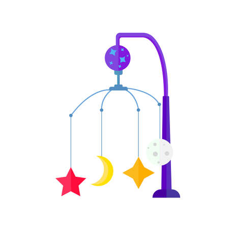 Colorful kids toy with star crescent and moon over the crib.