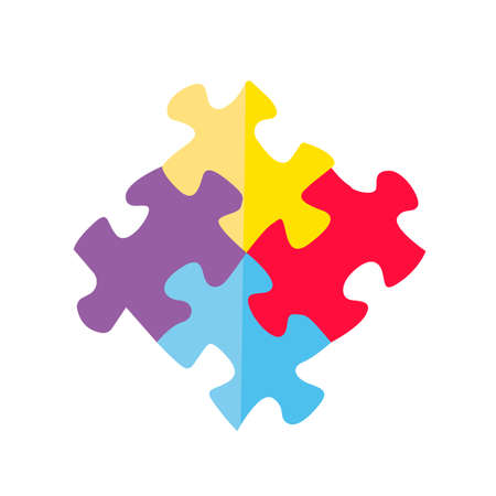 Combination of colorful kid puzzle elements.