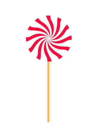 Big appetizing lollipop with spiral pattern. Vectores