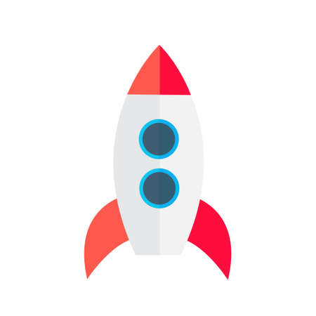 Bright toy space rocket with portholes and stabilizers.