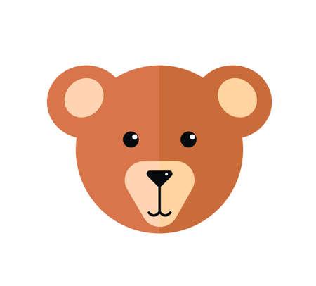 Cute plush teddy bear head illustration.