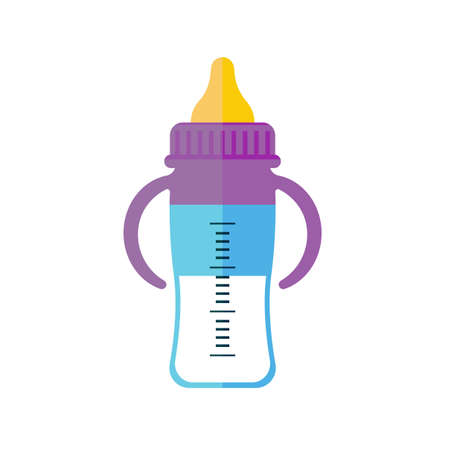 Modern bright bottle with pacifier and markup  in cartoon illustration. Ilustração