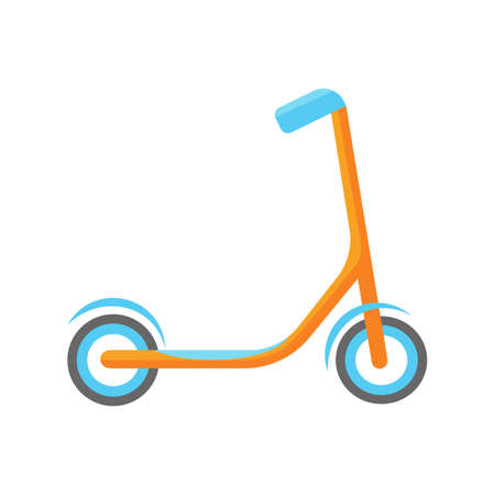 Cool childrens orange scooter with blue wheels and rudder in cartoon illustration.