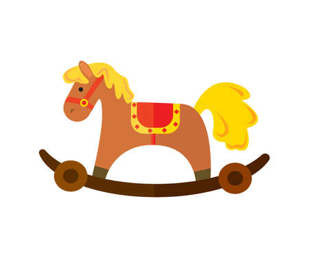 Vintage chestnut rocking horse  in cartoon illustration.