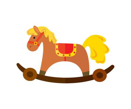 Vintage chestnut rocking horse  in cartoon illustration.