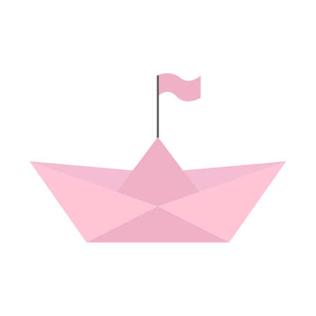 Pink origami ship of paper with flag.