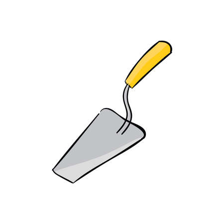 Metal trowel with yellow handle. Vector illustration element. Иллюстрация