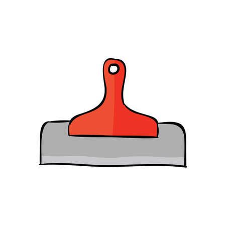 Red putty knife isolated on a white background. Vector illustration.
