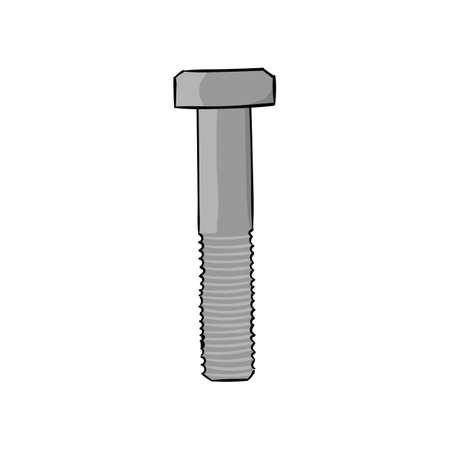 Metal bolt on a spanner isolated on a white background. Vector illustration