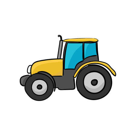 Ð¡ool wheeled tractor isolated on a white background. Vector illustration.
