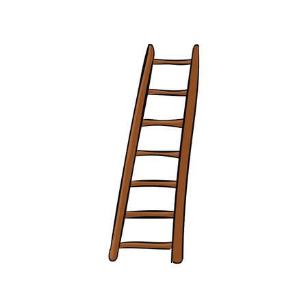 High wooden ladder isolated on a white background. Ilustracja