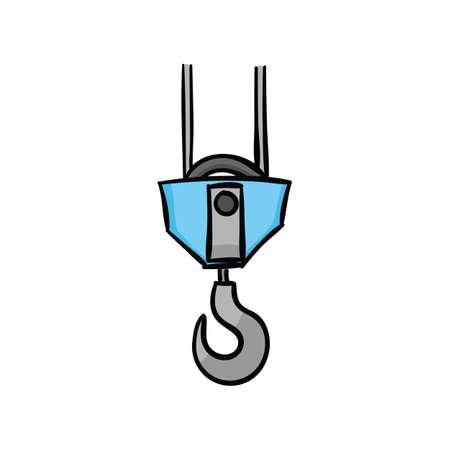 Blue crane hook isolated on a white background.