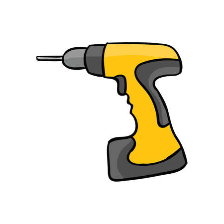 Сool screw gun isolated on a white background  in cartoon illustration.