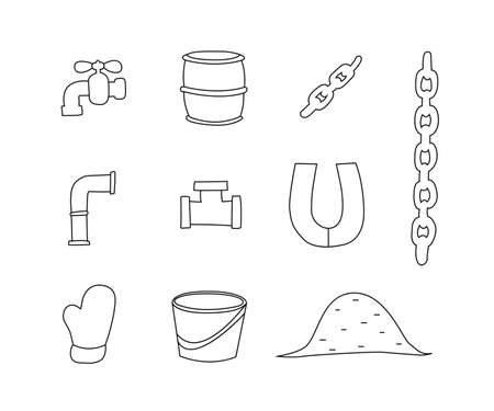 Set of plumbing fixture for kids drawing in hand drawn outline illustration for Child educational game page.