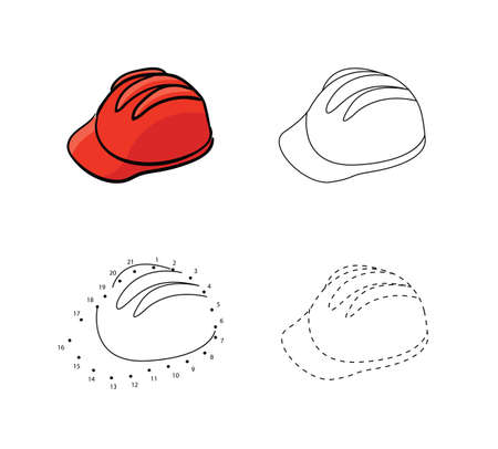 Set of reliable construction helmets in red color for kids drawing. Vector illustrations of hand drawn element. Educational children painting game.