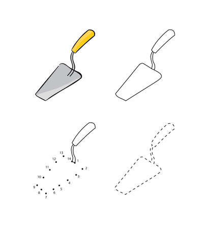 Set of metal trowels with wooden lever for masonry for kids drawing. Vector illustrations of hand drawn element. Educational children painting game.