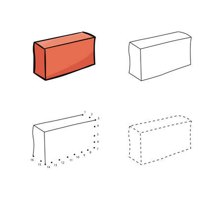 Set of bricks for construction for kids drawing in hand drawn outline illustration for Child educational game page. Stock Illustratie