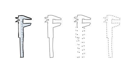 Set of metal calipers for kids drawing in hand drawn outline illustration for Child educational game page.