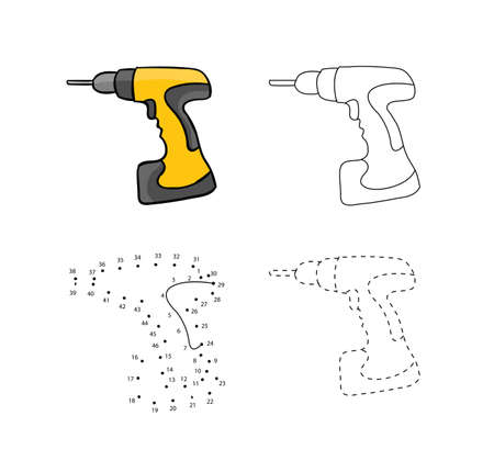 Yellow screw guns for kids drawing in hand drawn outline illustration for Child educational game page.  イラスト・ベクター素材