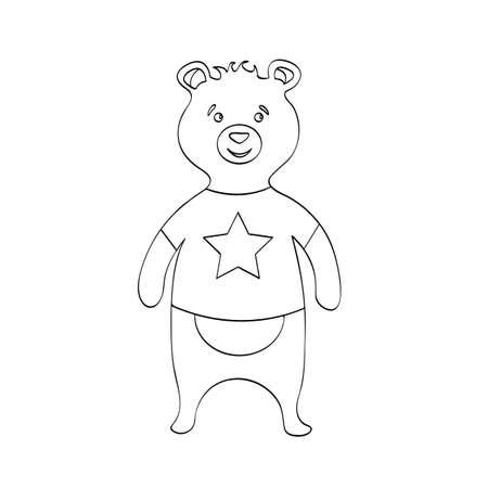 Bear in t-shirt with star cartoon n outline vector illustration.